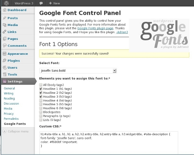 Settings page for WP Google Fonts to add Josefin Sans