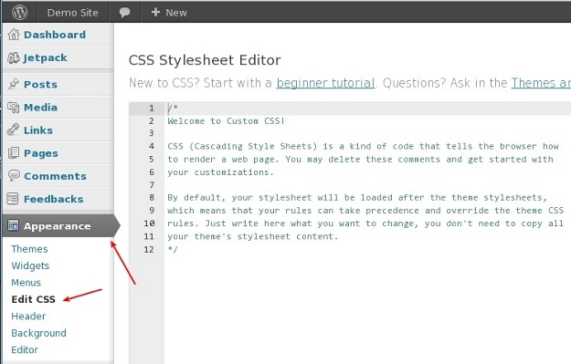 Jetpack Custom CSS Stylesheet Editor
