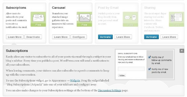 Jetpack Subscriptions to email your Blog Posts