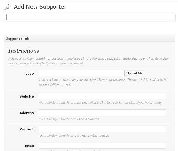 Wordpress Custom Post Type for Supporters