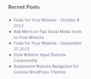 default wordpress recent posts widget