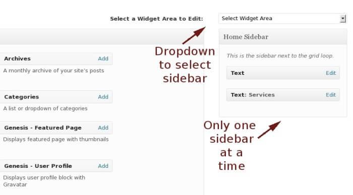 sane widget sidebar management