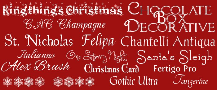 Holiday Fonts from Dafont.com and FontSquirrel.com