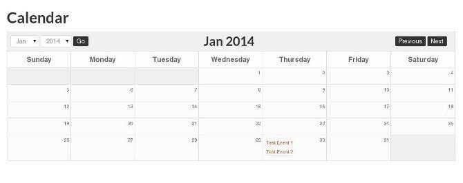 Styled Event Calendar