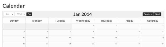 Event Calendar with Small Header
