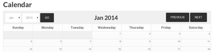Event Calendar with Tall Header