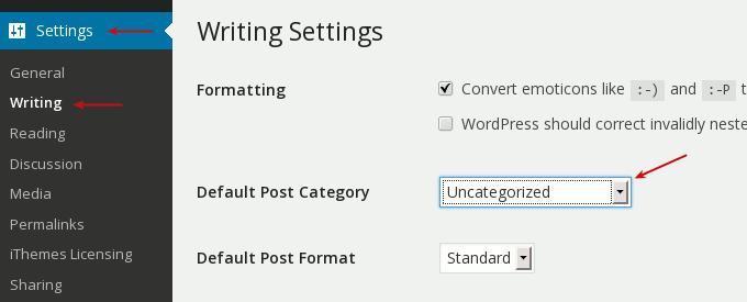 settings change default post category