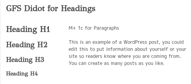 heading and paragraph fonts