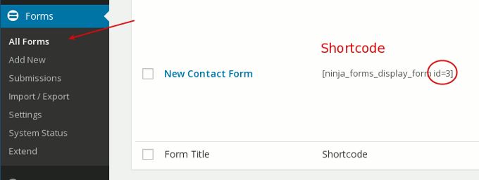 ninja form shortcode id