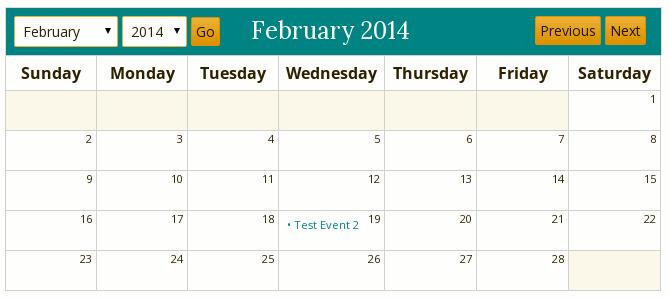 event calendar display