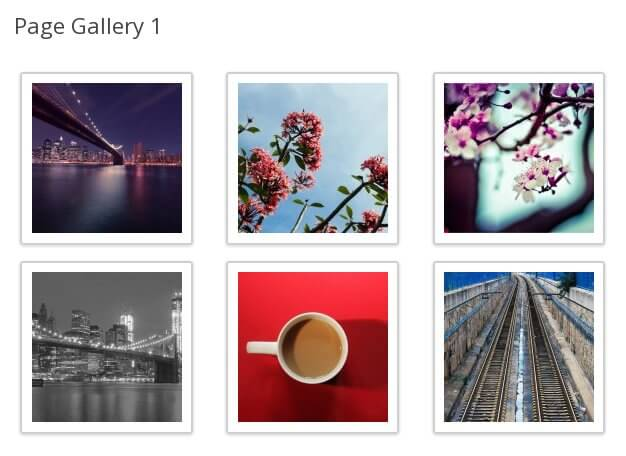 WordPress gallery added to a page