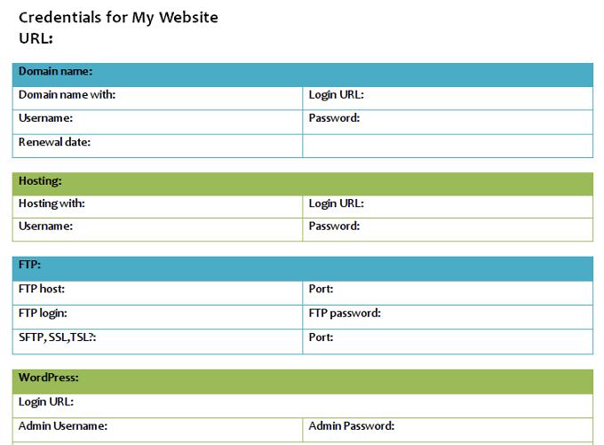 website credentials document
