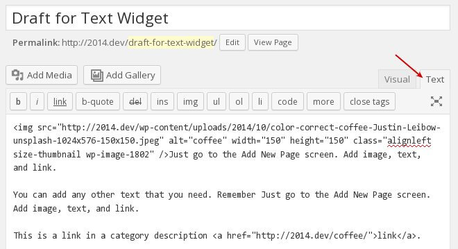 page editor with html for text widget