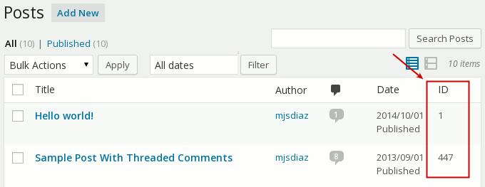 post id using reveal ids plugin
