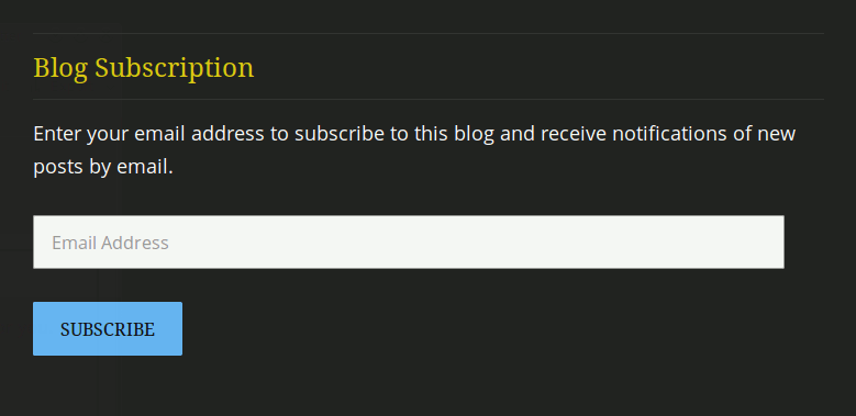 after entry newsletter sign up box example