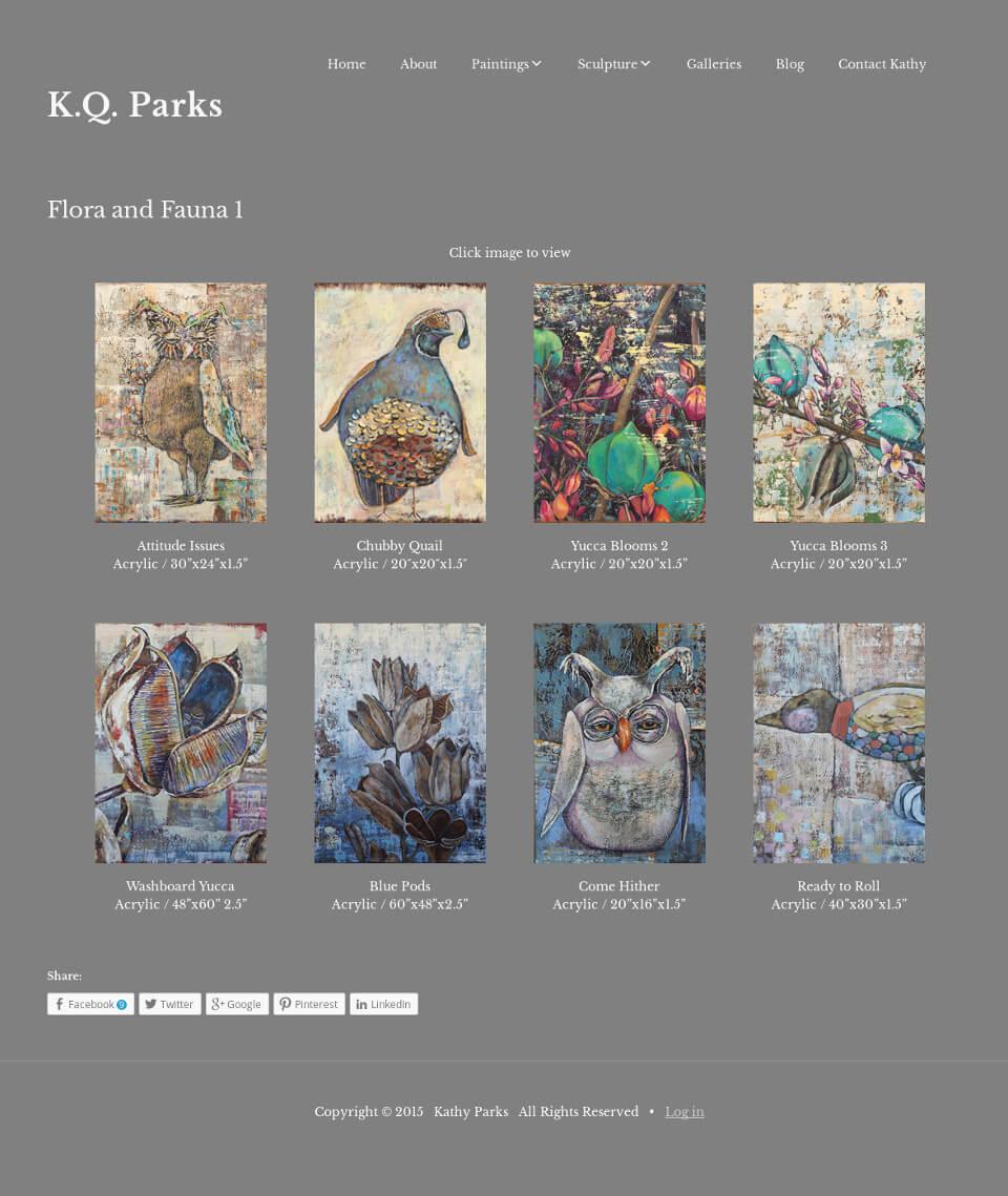 artist website showing gallery of  paintings