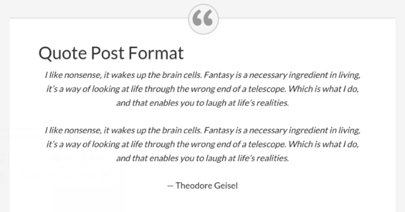 quote and link post formats with full content