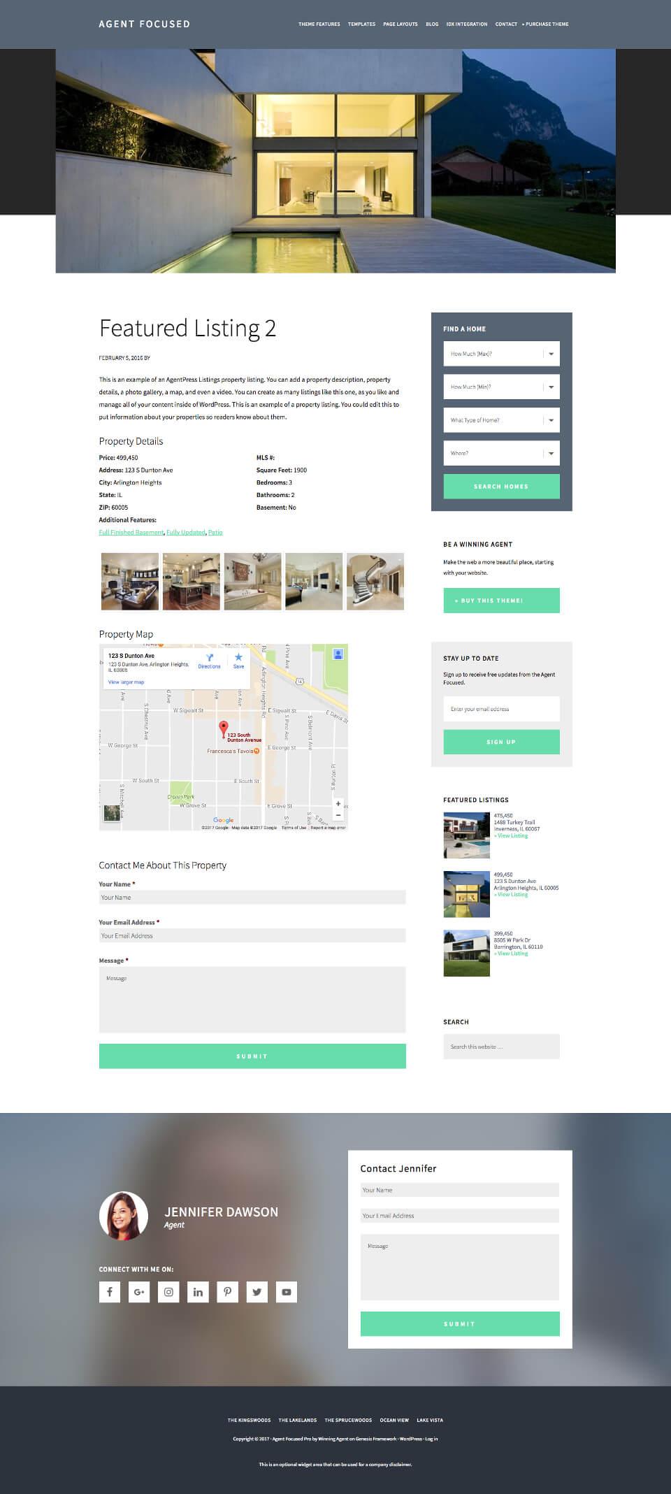 custom studiopress theme for real estate listings agent focused theme