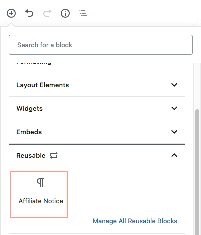 gutenberg editor reusable affiliate block
