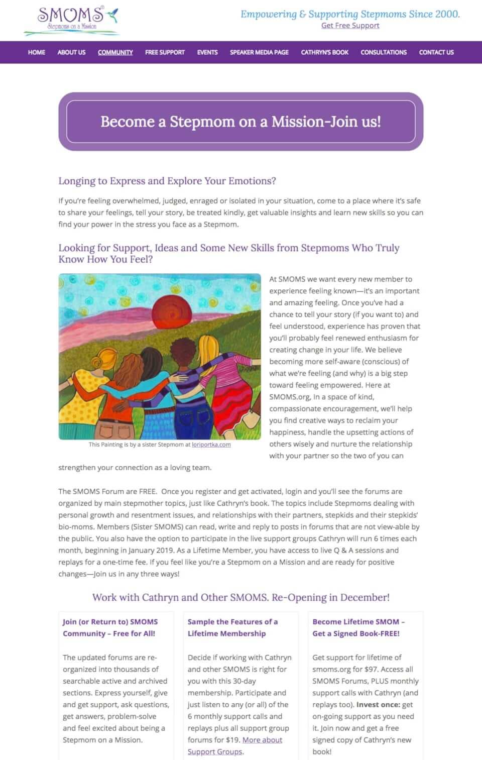 custom genesis website design stepmoms support group secondary page