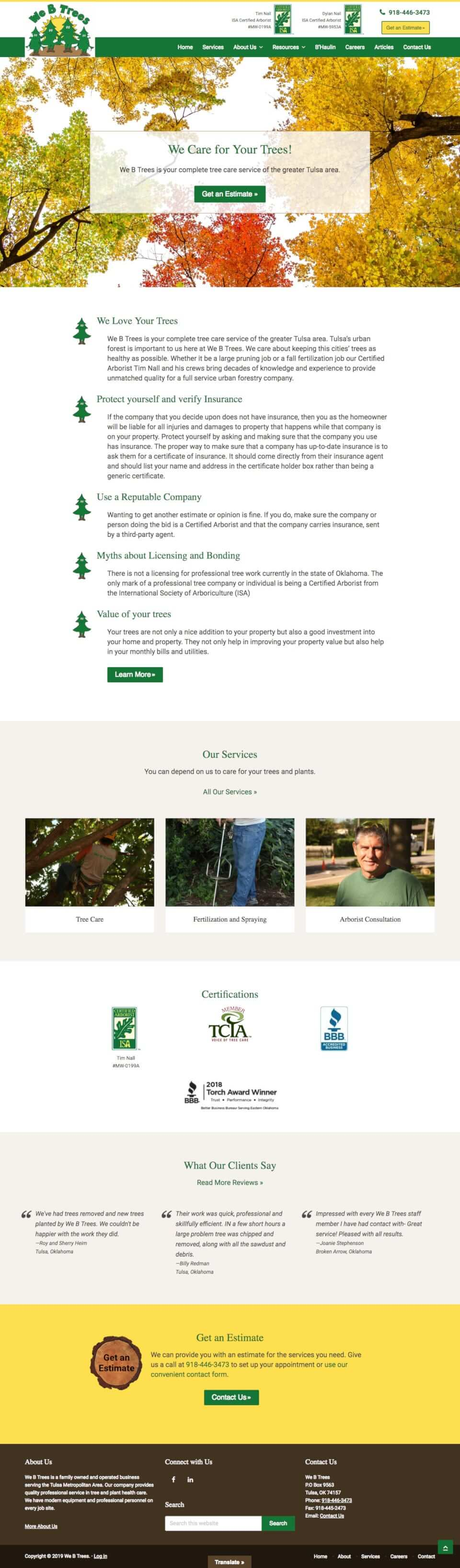 genesis theme customization small business for tree care