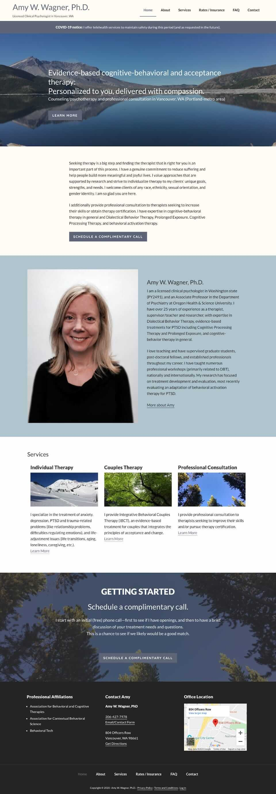 Amy Wagner psychologist website home page