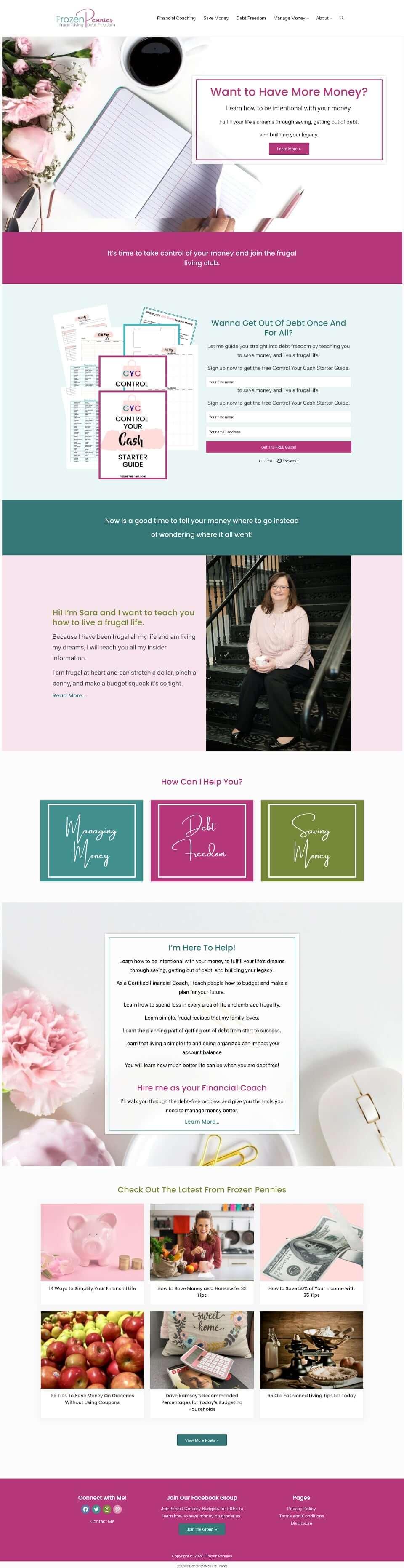 frozen pennies financial coaching home page