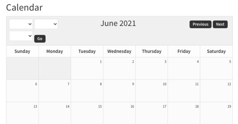 sugar calendar before CSS edits