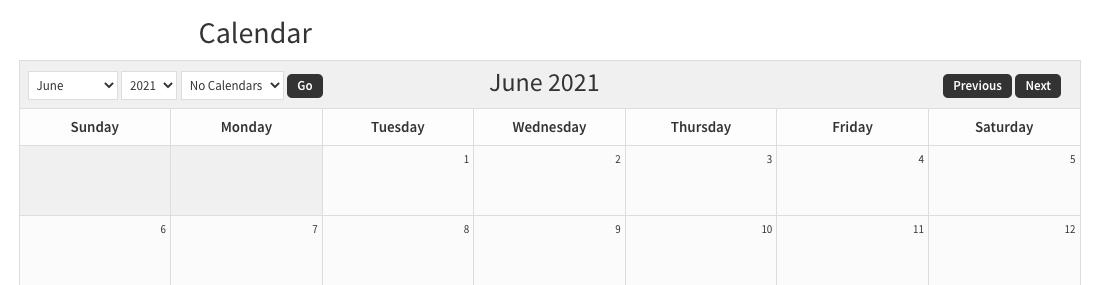 sugar calendar in a wide width group block