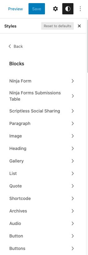 WordPress Block Styles in Global Styles
