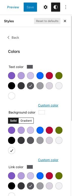 WordPress Global Styles Color Palettes