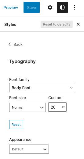 WordPress Global Styles Typography